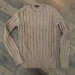 GAP Beige Cable-Knit, Angora-blend Sweater, Med